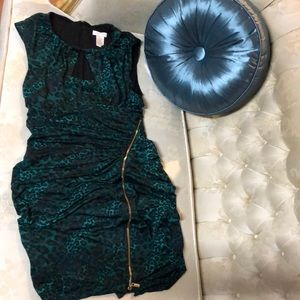 Green leopard print cocktail dress